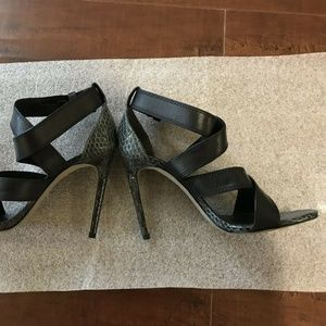Alexander Wang Linda Black Gray Heels snake 38.5 8